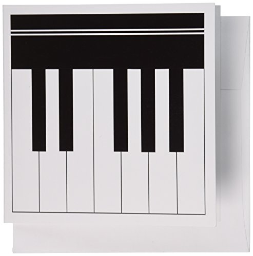 3dRose Piano keys - black and white keyboard musical design - pianist music and musician gifts - Greeting Cards, 6 x 6 inches, set of 12 (gc_112827_2)