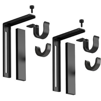 5 X Set of 2 Ikea Betydlig Wall or Ceiling Curtain Rod Brackets Steel Black Adjustable