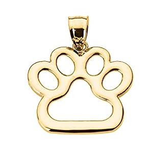 Polished 14k Gold Dog Paw Print Charm Pendant by Claddagh Gold
