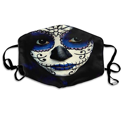 Dustproof Anti-Bacterial Washable Reusable Guy Sugar Skull Makeup Mouth Cover Mask Respirator Germ Protective Safety Warm Windproof Mask]()