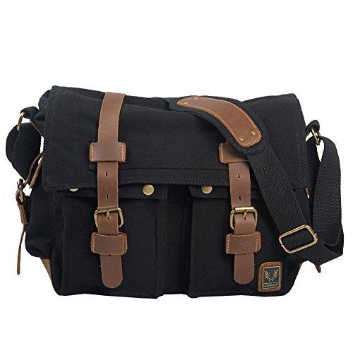 Men And With Women Shoulder Casual Black Horse Bag Retro A Canvas Crazy Messenger Bags rrw1WdxZqc