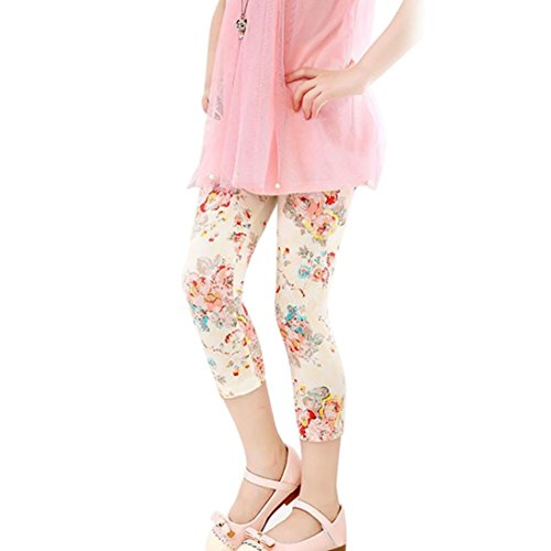 Jockey Flower Print (NEWONESUN Children Cropped Trousers Floral Print Leggings Flower Baby girls Pencil Pants (110, Beige))