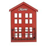 Blesiya Wood Wall Mount Shelf Shelving Keys Holder Post Rack Mail Box Letter Tray 12x7'', Super Chic - Red