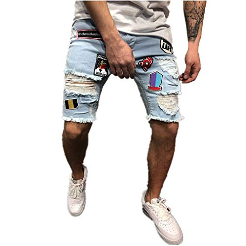 Transser- Distressed Denim Shorts Ripped Jeans Shorts for Mens, Slim Fit Skinny Moto Biker Pants
