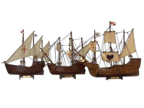 Buy Santa Maria, Nina & Pinta Set - Christopher Columbus Ship - Historic Model Ship Set - Nautical Decoration - Nautical Gift - Model Tall Ships - Handcrafted Model Boats - Sold Fully Assembled - Not A Model Ship Kit from Handcrafted Model Ships