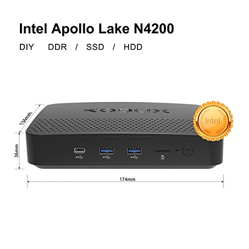 N42-D Windows 10 Pro 64-bit Mini PC, Pentium N4200 Processor, Upgradeable RAM 4GB/ ROM 32GB/ DIY SSD/DDR/HDD 1000Mbps LAN HD 2.4/5.8 G WiFi BT4.0 with HDMI/VGA/USB C Ports / Build NAS (Memory 4gb Pentium Celeron 4)