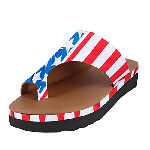 Sharemen USA Independence Day Sandals, American Flag Print Comfort Platform Sandals Summer Beach Travel Shoes(Blue,US: 7)