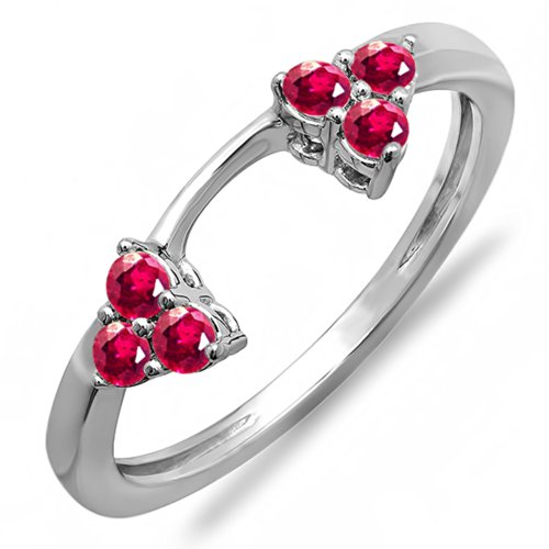 Dazzlingrock Collection 0.30 Carat (ctw) 18K White Gold Round Ruby Ladies Anniversary Wedding Ring Guard Band 1/3 CT (Size 9) -