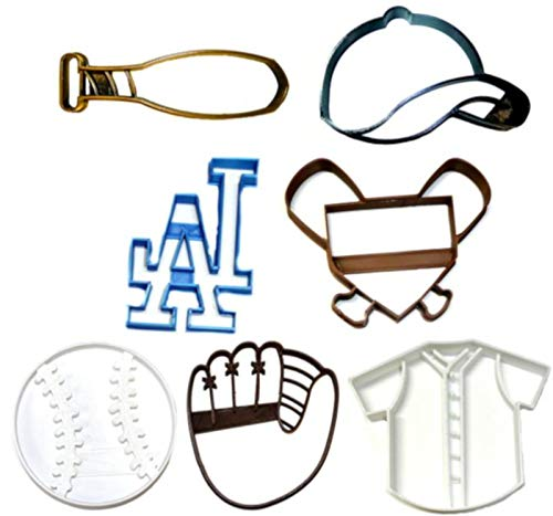LOS ANGELES DODGERS MLB TEAM LA LOGO BASEBALL MITT CAP BAT JERSEY HOME PLATE AMERICAN BALL SET OF 7 SPECIAL OCCASION COOKIE CUTTER BAKING TOOL 3D PRINTED MADE IN USA PR1272
