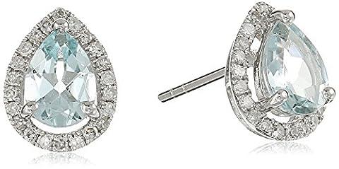 10k White Gold Aquamarine and Diamond Princess Diana Pear Halo Stud Earrings (1/5cttw, H-I Color, I1-I2 Clarity)