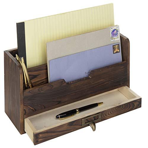 - MyGift 3-Tier Coffee Brown Wood Office Desk File Organizer Mail Sorter Tray Holder w/Storage Drawer