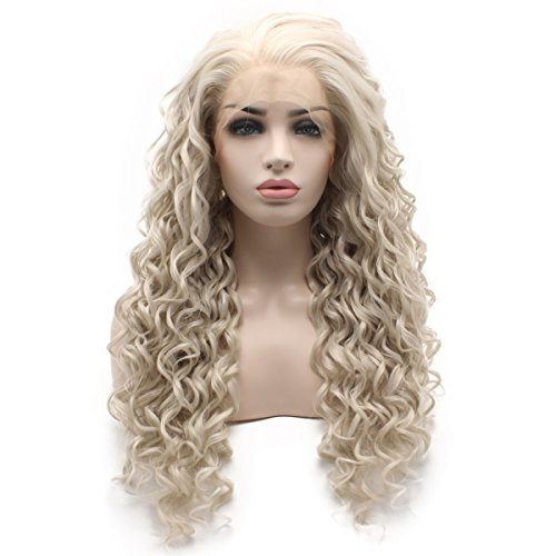 Iewig Long Curly Gray Blond Heat Resistant Fiber Hair Lace Front Wig -