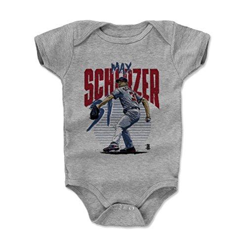 (500 LEVEL Max Scherzer Baby Clothes, Onesie, Creeper, Bodysuit 18-24 Months Heather Gray - Washington Baseball Baby Clothes - Max Scherzer Rise R)