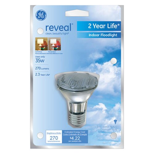 Halogen Recessed Lights - GE Lighting 74869 35-Watt 270-Lumen Track and Recessed PAR20 Halogen Light Bulb, Reveal