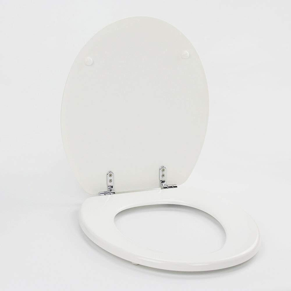 LXYFMS O-Shaped Solid Wood Toilet Seat, Bottom Fixed Ultra-Durable Thickened Toilet Cover, White Toilet lid (Color : White, Size : O)