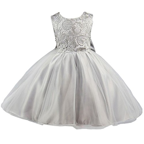 21KIDS Baby Girls Tulle Lace Flower Bridesmaid Gown Backless Dress with Bow for Party Wedding,Gray,4-5 Years