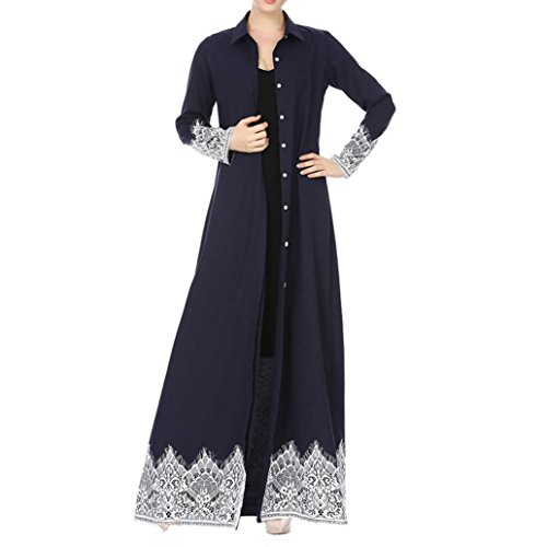 Single Cardigan (Funic Women's Long Sleeve Single Breasted Lace Trimmed Robe Cardigan Long Beach Cover Ups (S, Navy Blue))