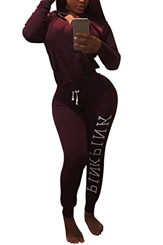 Women's Fall Long Sleeve Muff Pocket Hoodies Sweatpants 2 Piece Tracksuit