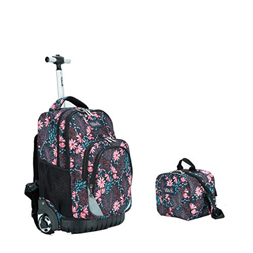 Tilami New Antifouling Design 18 Inch Wheeled Rolling Backpack Luggage & Lunch Bag,Floral 2