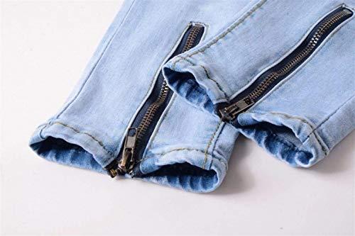 Blau Cierre Vaqueros Jeggings Skinny Lang Sólido Fit Mezclilla Color Hombres Con Los Battercake Cremallera Pantalones Eng Cómodo Destruido De ASUCCx