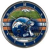 Denver Broncos Round Chrome Wall Clock - Licensed NFL Football Merchandise