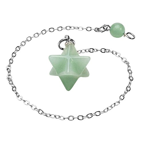 - QGEM Healing Crystal Green Aventurine Merkaba Pendant Dowsing Pendulum Reiki Balancing Powerful Deflector Psychic Energy