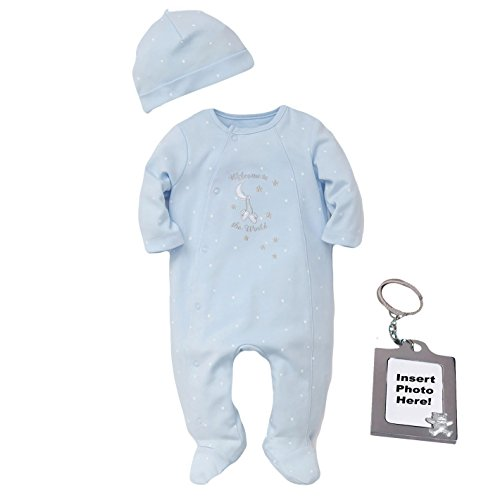 Little Me Welcome World Newborn Footed Sleeper Boys Pajamas Blue Footie Hat Frame