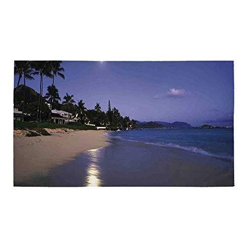 (C COABALLA Hawaiian Decorations Rectangular Bath Rug,Houses Clear Sky Full Moon and Moonlight Reflection at Daybreak on a Hawaii Beach for Bathroom,32