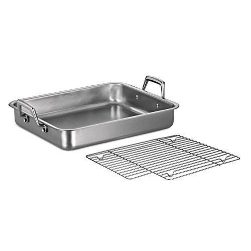 MD Group Roasting Pan Premium Stainless Steel 16.5-in Silver Oven Safe Kitchen Baking Cookware