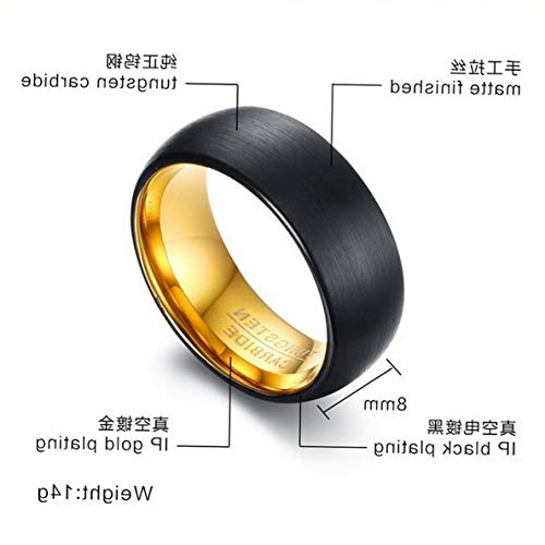 (Campton New Mens Wedding Size 8-12 Luxury Black Tungsten Steel Carbide Ring Gift | Model RNG - 1205 | 11)