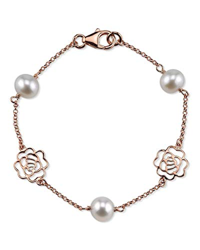 THE PEARL SOURCE 7-8mm Genuine White Freshwater Cultured Pearl Rose Gold Fiona Bracelet for Women