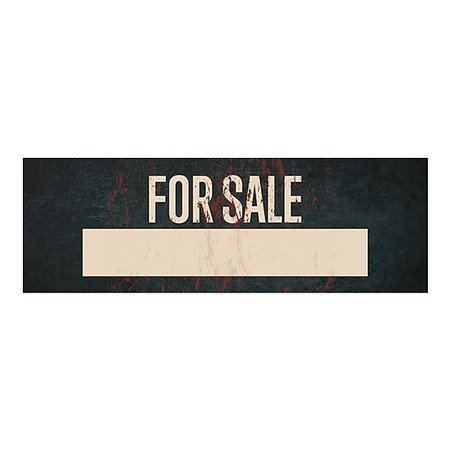 CGSignLab | ''For Sale -Ghost Aged Rust'' Repositionable Opaque White 1st Surface Static-Cling Non-Adhesive Window Decal (5-Pack) | 36''x12'' by CGSignLab