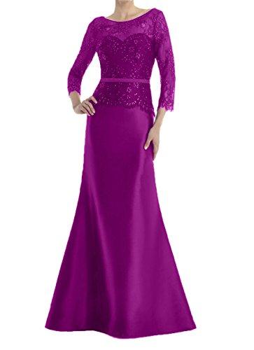 Partykleider Royal Abendkleider Festlichkleider Damen Lang Spitze Dunkel Brautmutterkleider Fuchsia Meerjungfrau Charmant Blau 50aqxw