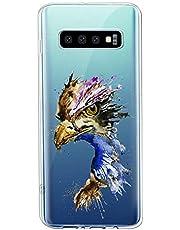 Oihxse Compatible con Samsung Galaxy J6 Plus/J6 Prime Funda Suave Gel TPU Silicona Cristal Transparente Carcasa Acuarela Animal Pintado Patrón Protectora Estuche Bumper Caso Case (B7)