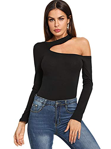 SheIn Women's Sexy One Shoulder Long Sleeve Tee Cutout Slim Fit T Shirts Top Small Black
