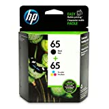 HP 65 Black & Tri-colour Original Ink Cartridges, 2 Pack (T0A36AN),T0A36AN#140 (Packaging may vary)