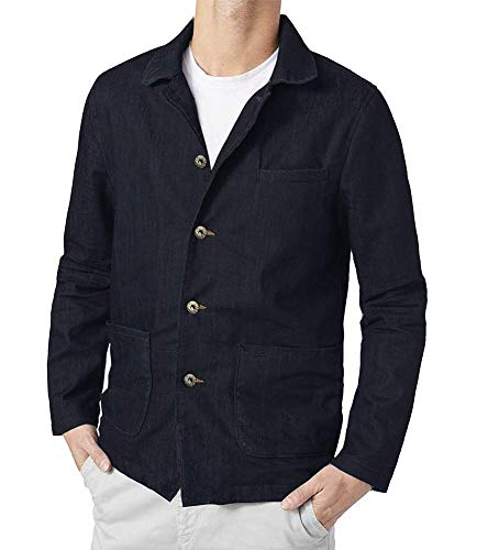 COOFANDY Men Denim Blazer Jacket Casual Suit Cotton Sport Coat Four Buttons Blazer