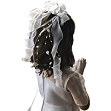 First Communion Veil White Foral Ribbon with Pearl from VGI