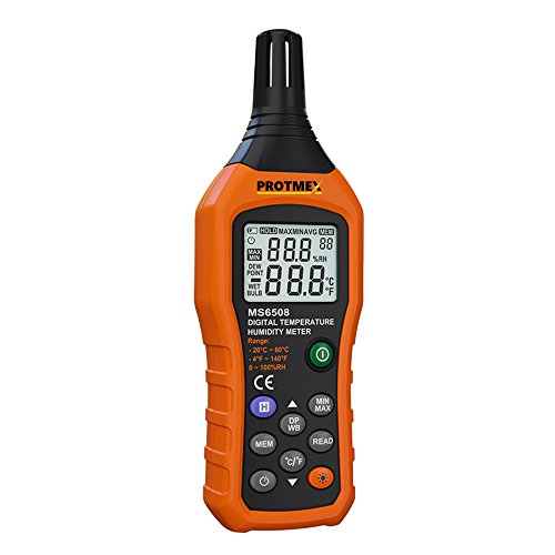 Protmex MS6508 Digital Temperature Humidity Meter Digital Psychrometer Thermometer Hygrometer Humidity Monitor with Temperature Gauge Humidity Meter with Dew Point and Wet Bulb Temperature Hygrometer by Protmex