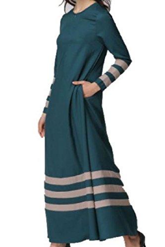 Musulmano Vestito Striscia Blu Allentato Maxi Islamico Comodi Donne manicotto Lungo qHxF6Cx