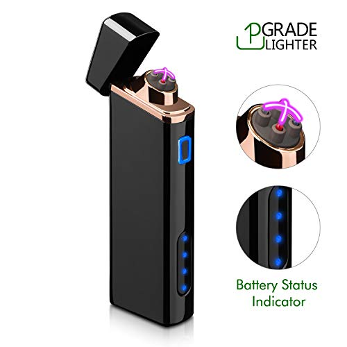 Lighter, Electric Arc Lighter USB Rechargeable Windproof Flameless Lighter Plasma Lighter with Battery Indicator (Upgraded) for Cigar, Cigarette, Pipe, Candle