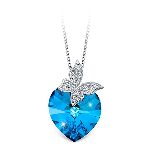 (T400 Jewelers Heart Necklace with Butterfly Wings Made with Swarovski Elements Crystal Gift for Her)