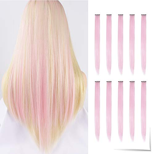 Tofafa 22 Inch Colored Hair Extensions,Multi-colors Party Highlights Clip in Synthetic Hair Extensions(10pcs Light Pink)