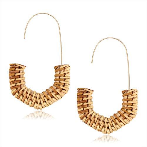 (MOLOCH Rattan Earrings for Women Handmade Straw Wicker Braid Hoop Earrings Lightweight Wire Drop Dangle Earrings Fashion Jewelry)