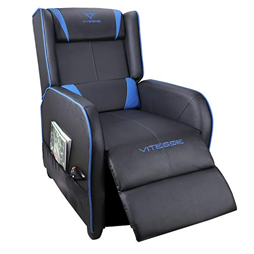 Vitesse Gaming Recliner Chair Racing Style Single Ergonomic Lounge Sofa Modern PU Leather Reclining Home Theater Seat for Living & Gaming Room (Blue)