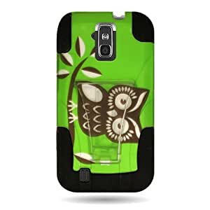 HYBRID Dual Heavy Duty Hard Case with GREEN OWL Design and Soft Silicone Skin Cover w/ Kickstand for...