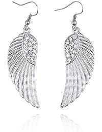 Hot Lady Rhinestone Dangle Angel Wing Pendant Ear Hook Earrings Fashion Jewelry Ameesi