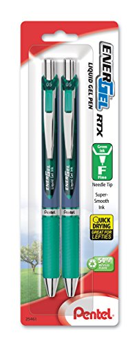 (Pentel EnerGel RTX Retractable Liquid Gel Pen, 0.5mm, Needle Tip, Fine Line, Green, Pack of 2 (BLN75BP2D))