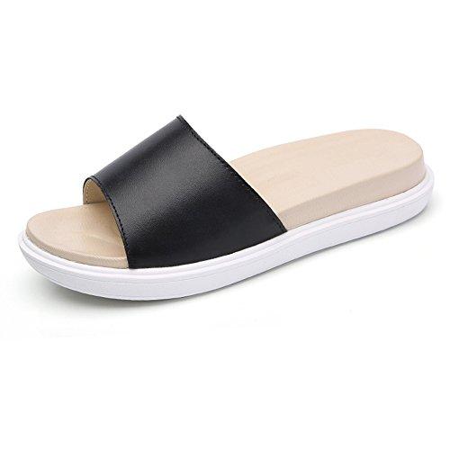 XW Zapatillas de verano Sandalias Ultra Light Soft Bottom Leather Wild Indoor y Outdoor Cool Zapatillas Mujeres Estudiantes Zapatos de mujer antideslizante Simple Child With Slippers para mujeres chic 3