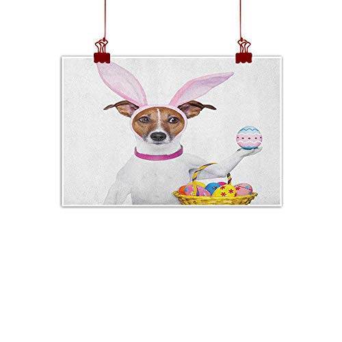 Sunset glow Canvas Wall Art Easter,Dog Dressed up as Easter Bunny Holding a Basket of Eggs Funny Animal Illustration, Multicolor 20